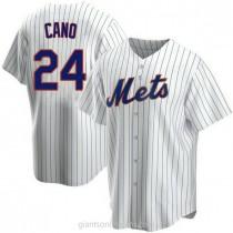 Mens Robinson Cano New York Mets #24 Replica White Home A592 Jersey