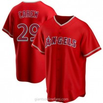 Mens Rod Carew Los Angeles Angels Of Anaheim #29 Replica Red Alternate A592 Jersey