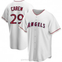 Mens Rod Carew Los Angeles Angels Of Anaheim #29 Replica White Home A592 Jerseys