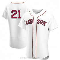 Mens Roger Clemens Boston Red Sox #21 Authentic White Home Team A592 Jerseys
