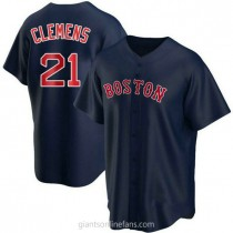 Mens Roger Clemens Boston Red Sox #21 Replica Navy Alternate A592 Jersey