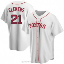 Mens Roger Clemens Boston Red Sox #21 Replica White Alternate A592 Jersey
