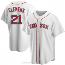 Mens Roger Clemens Boston Red Sox Replica White Home A592 Jersey