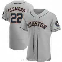 Mens Roger Clemens Houston Astros #22 Authentic Gray Road A592 Jersey