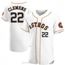 Mens Roger Clemens Houston Astros #22 Authentic White Home A592 Jersey