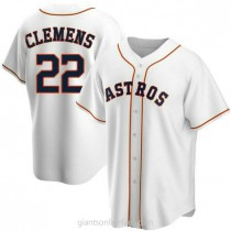 Mens Roger Clemens Houston Astros #22 Replica White Home A592 Jerseys