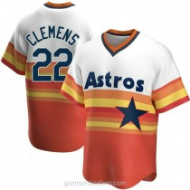 Mens Roger Clemens Houston Astros #22 Replica White Home Cooperstown Collection A592 Jerseys