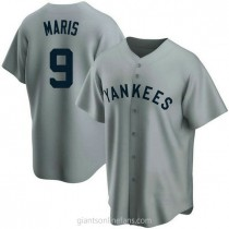 Mens Roger Maris New York Yankees #9 Replica Gray Road Cooperstown Collection A592 Jerseys