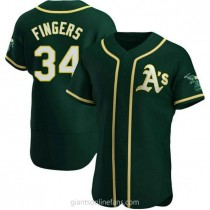 Mens Rollie Fingers Oakland Athletics #34 Authentic Green Alternate A592 Jersey