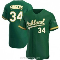 Mens Rollie Fingers Oakland Athletics #34 Authentic Green Kelly Alternate A592 Jersey