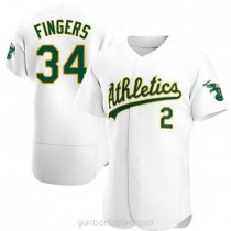 Mens Rollie Fingers Oakland Athletics #34 Authentic White Home A592 Jersey