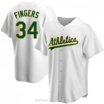 Mens Rollie Fingers Oakland Athletics #34 Replica White Home A592 Jersey