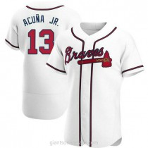 Mens Ronald Acuna Atlanta Braves #13 Authentic White Home A592 Jersey