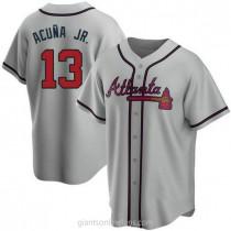 Mens Ronald Acuna Atlanta Braves #13 Replica Gray Road A592 Jerseys