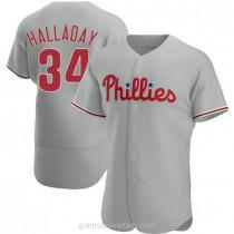 Mens Roy Halladay Philadelphia Phillies #34 Authentic Gray Road A592 Jersey