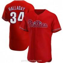 Mens Roy Halladay Philadelphia Phillies #34 Authentic Red Alternate A592 Jerseys