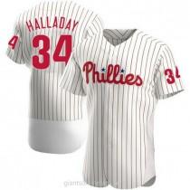 Mens Roy Halladay Philadelphia Phillies #34 Authentic White Home A592 Jersey