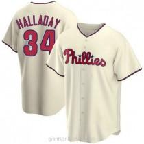 Mens Roy Halladay Philadelphia Phillies #34 Replica Cream Alternate A592 Jerseys