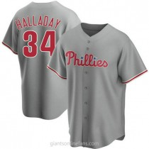 Mens Roy Halladay Philadelphia Phillies #34 Replica Gray Road A592 Jersey