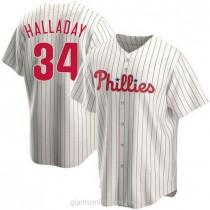Mens Roy Halladay Philadelphia Phillies Replica White Home A592 Jersey