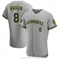 Mens Ryan Braun Milwaukee Brewers #8 Authentic Gray Road A592 Jersey