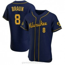 Mens Ryan Braun Milwaukee Brewers #8 Authentic Navy Alternate A592 Jersey