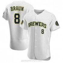 Mens Ryan Braun Milwaukee Brewers #8 Authentic White Alternate A592 Jerseys