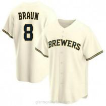 Mens Ryan Braun Milwaukee Brewers #8 Replica Cream Home A592 Jersey