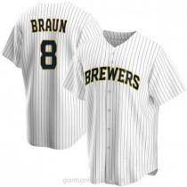 Mens Ryan Braun Milwaukee Brewers Replica White Home A592 Jersey
