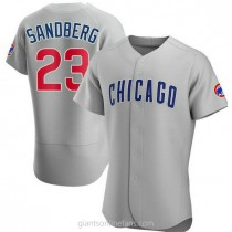 Mens Ryne Sandberg Chicago Cubs Authentic Gray Road A592 Jersey