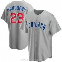 Mens Ryne Sandberg Chicago Cubs Replica Gray Road A592 Jersey