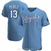 Mens Salvador Perez Kansas City Royals #13 Authentic Light Blue Alternate A592 Jerseys