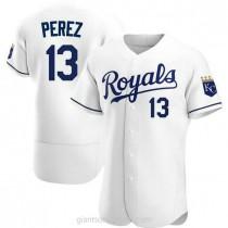 Mens Salvador Perez Kansas City Royals #13 Authentic White Home A592 Jerseys