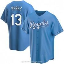 Mens Salvador Perez Kansas City Royals #13 Replica Light Blue Alternate A592 Jerseys