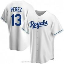 Mens Salvador Perez Kansas City Royals #13 Replica White Home A592 Jersey