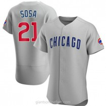 Mens Sammy Sosa Chicago Cubs #21 Authentic Gray Road A592 Jerseys