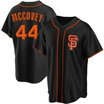 Mens San Francisco Giants #44 Willie Mccovey Replica Black Alternate Jersey