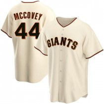 Mens San Francisco Giants #44 Willie Mccovey Replica Cream Home Jersey