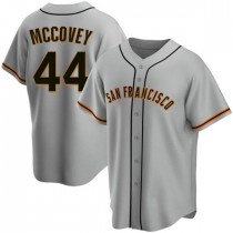 Mens San Francisco Giants #44 Willie Mccovey Replica Gray Road Jersey