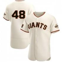 Mens San Francisco Giants #48 Pablo Sandoval Authentic Cream Home Jersey