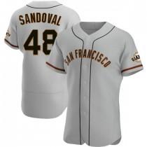 Mens San Francisco Giants #48 Pablo Sandoval Authentic Gray Road Jersey