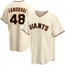 Mens San Francisco Giants #48 Pablo Sandoval Replica Cream Home Jersey