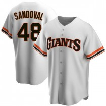 Mens San Francisco Giants #48 Pablo Sandoval Replica White Home Cooperstown Collection Jersey