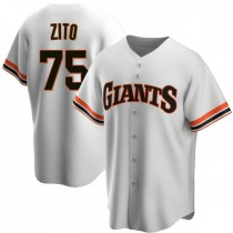 Mens San Francisco Giants Barry Zito Replica White Home Cooperstown Collection Jersey
