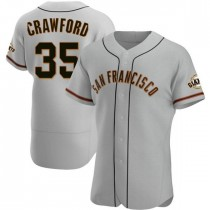 Mens San Francisco Giants Brandon Crawford Authentic Gray Road Jersey