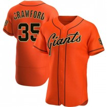 Mens San Francisco Giants Brandon Crawford Authentic Orange Alternate Jersey