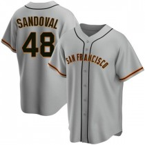 Mens San Francisco Giants Pablo Sandoval Replica Gray Road Jersey