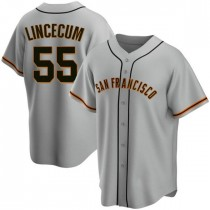 Mens San Francisco Giants Tim Lincecum Replica Gray Road Jersey
