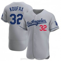 Mens Sandy Koufax Los Angeles Dodgers #32 Authentic Gray Away Official A592 Jerseys