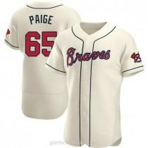 Mens Satchel Paige Atlanta Braves #65 Authentic Cream Alternate A592 Jersey